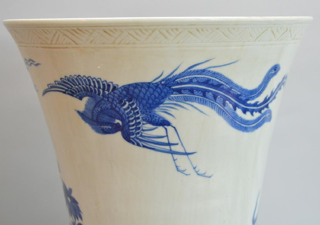 Large Chinese Porcelain Vase with blue floral, bird and - 5