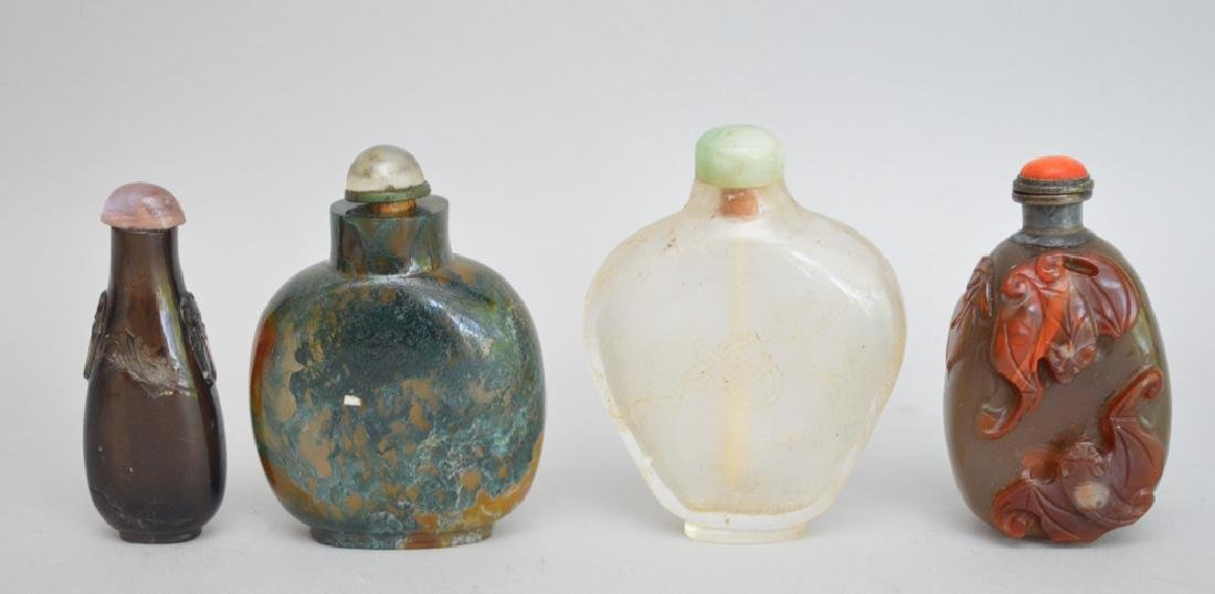 4 Chinese Glass Snuff Bottles.   Tallest Bottle 2 7/8.