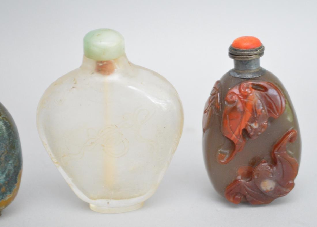 4 Chinese Glass Snuff Bottles.   Tallest Bottle 2 7/8. - 2