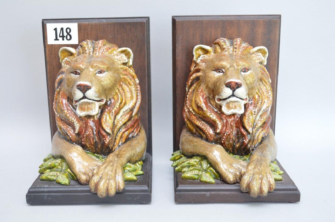 Jay Strongwater Enamel & Mahogany Lion Bookends.  Ht. 7