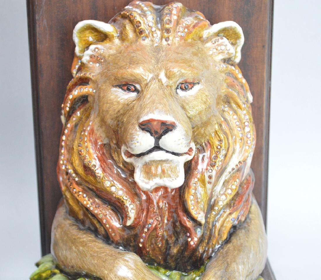 Jay Strongwater Enamel & Mahogany Lion Bookends.  Ht. 7 - 2