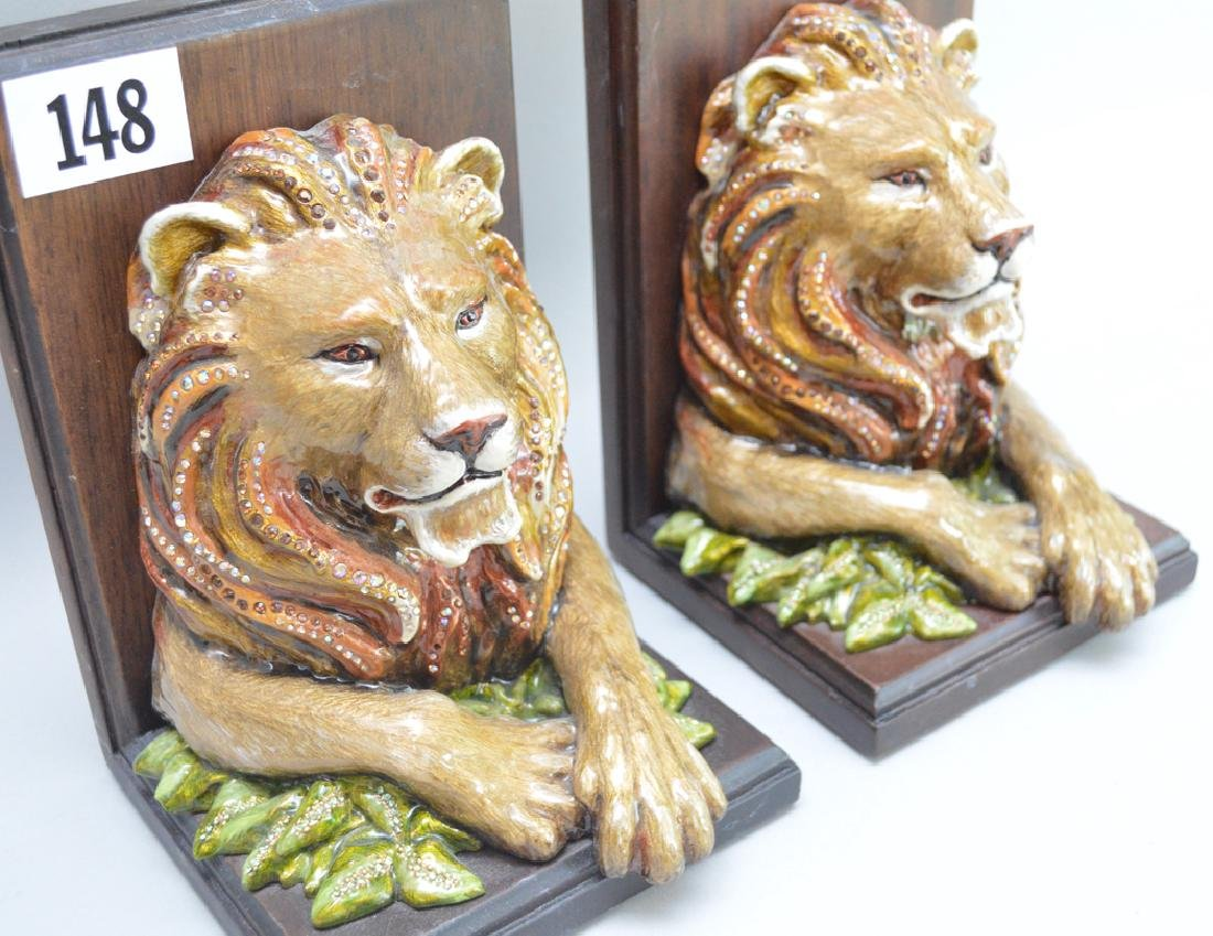 Jay Strongwater Enamel & Mahogany Lion Bookends.  Ht. 7 - 3