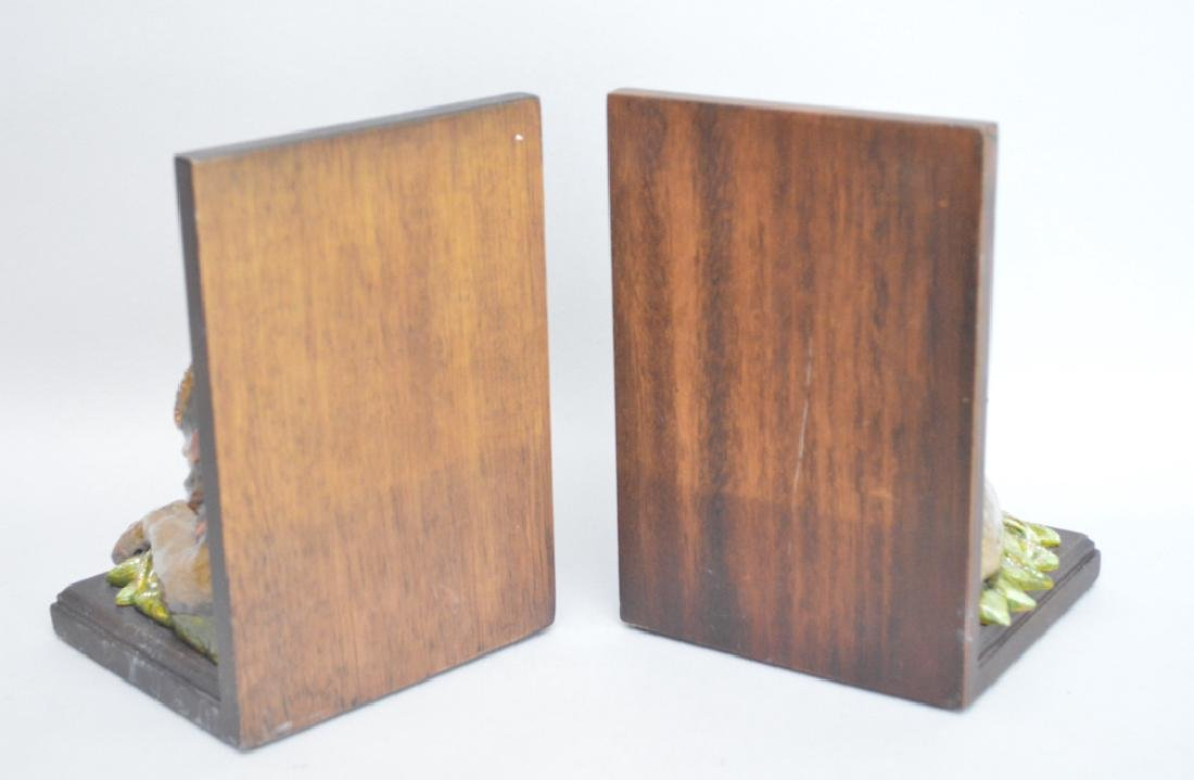 Jay Strongwater Enamel & Mahogany Lion Bookends.  Ht. 7 - 4