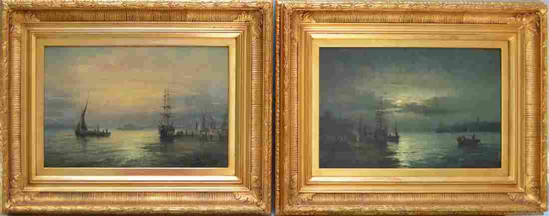 Pair 19th Century oil on canvas seascape moonlight