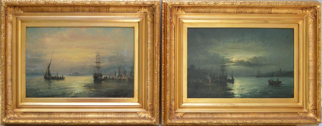 Pair 19th Century oil on canvas seascape moonlight