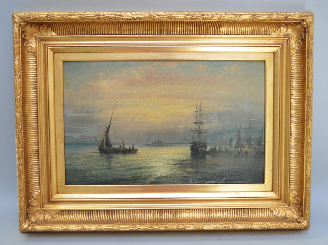 Pair 19th Century oil on canvas seascape moonlight - 2