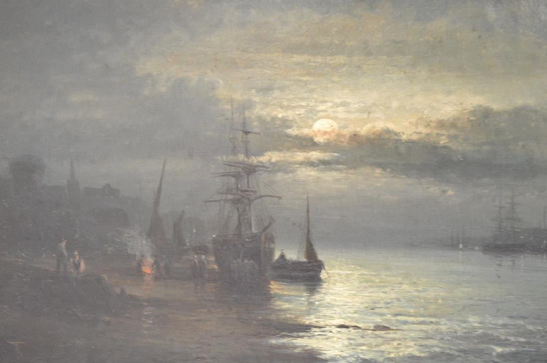 Pair 19th Century oil on canvas seascape moonlight - 7