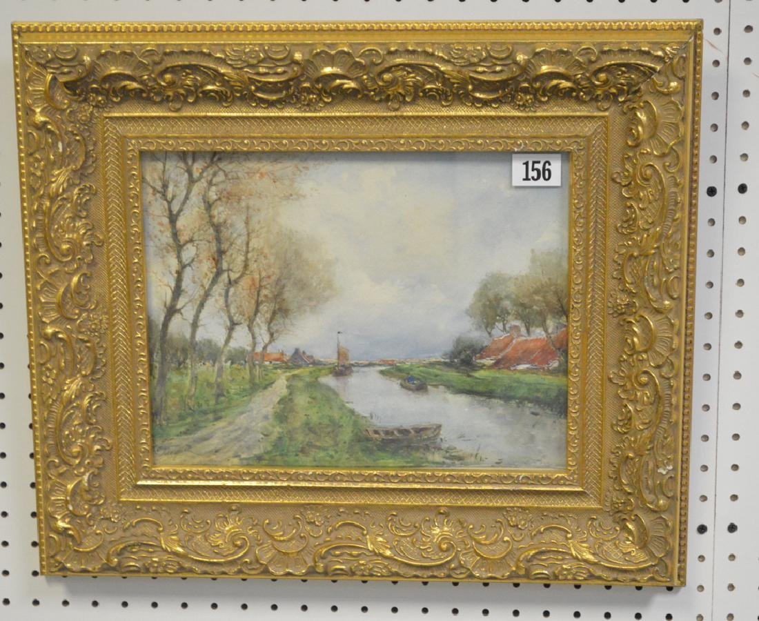 French School Watercolor signed Jacquet, Landscape