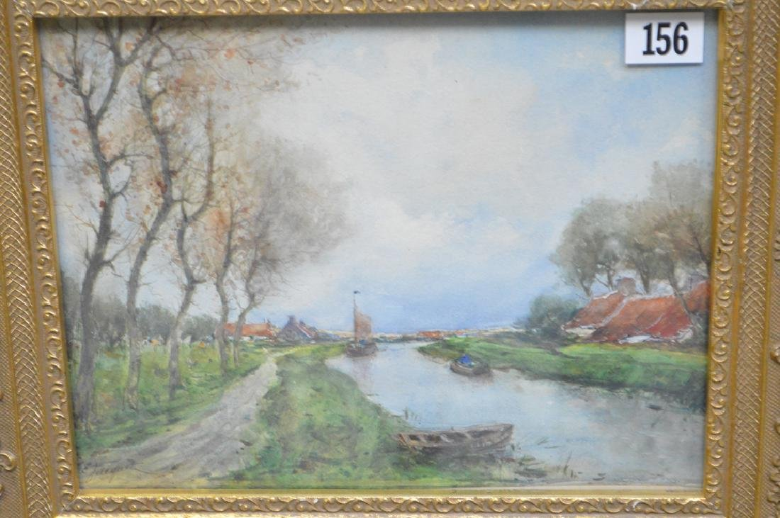 French School Watercolor signed Jacquet, Landscape - 2
