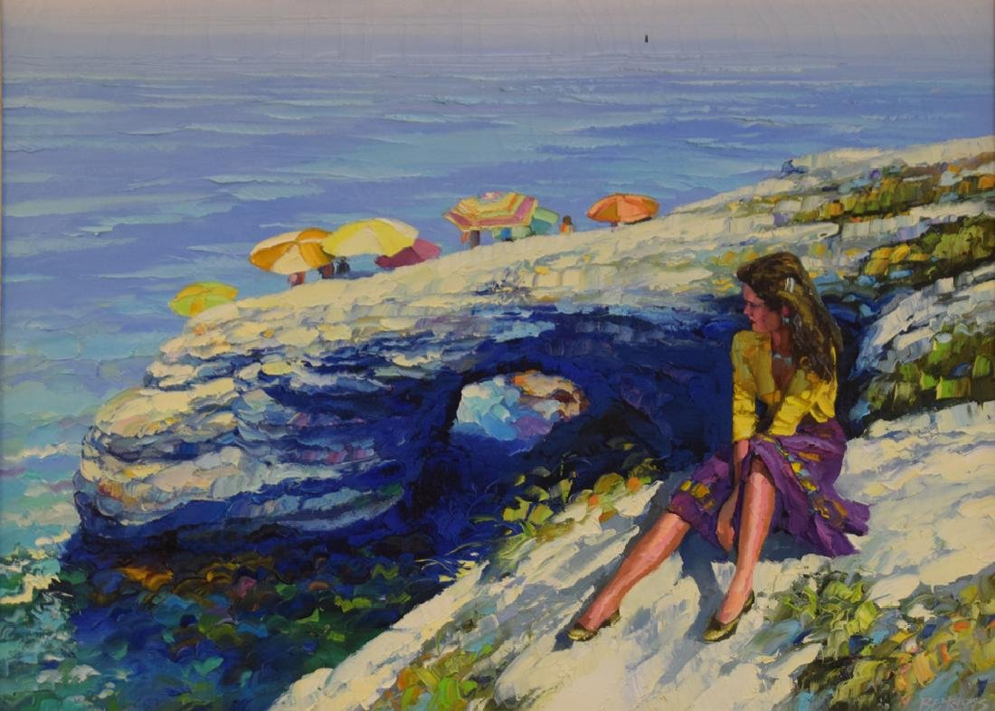 Howard Behrens (AMERICAN, 1933) oil on canvas, girl by - 2