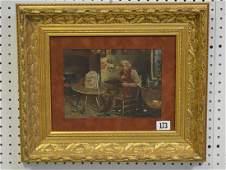 Sm. oil by Kenneth Lock, interior man working on clock,
