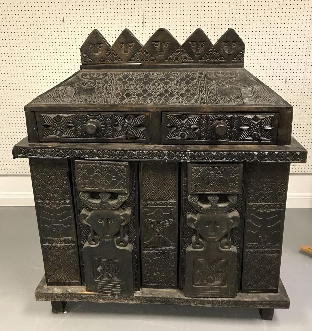 Elaborately carved Island cabinet/chest, 5 faces above - 2