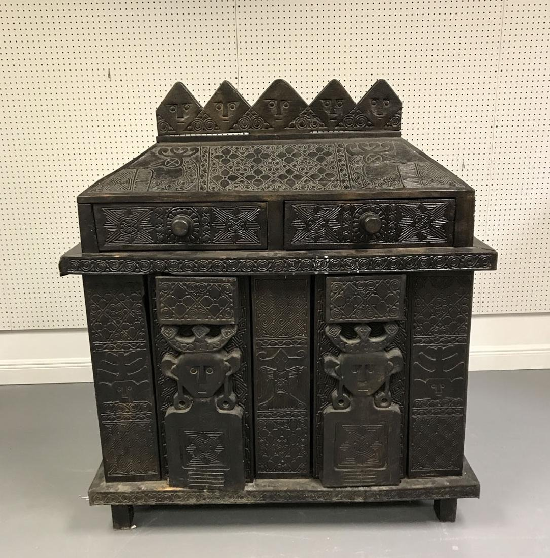 Elaborately carved Island cabinet/chest, 5 faces above - 4