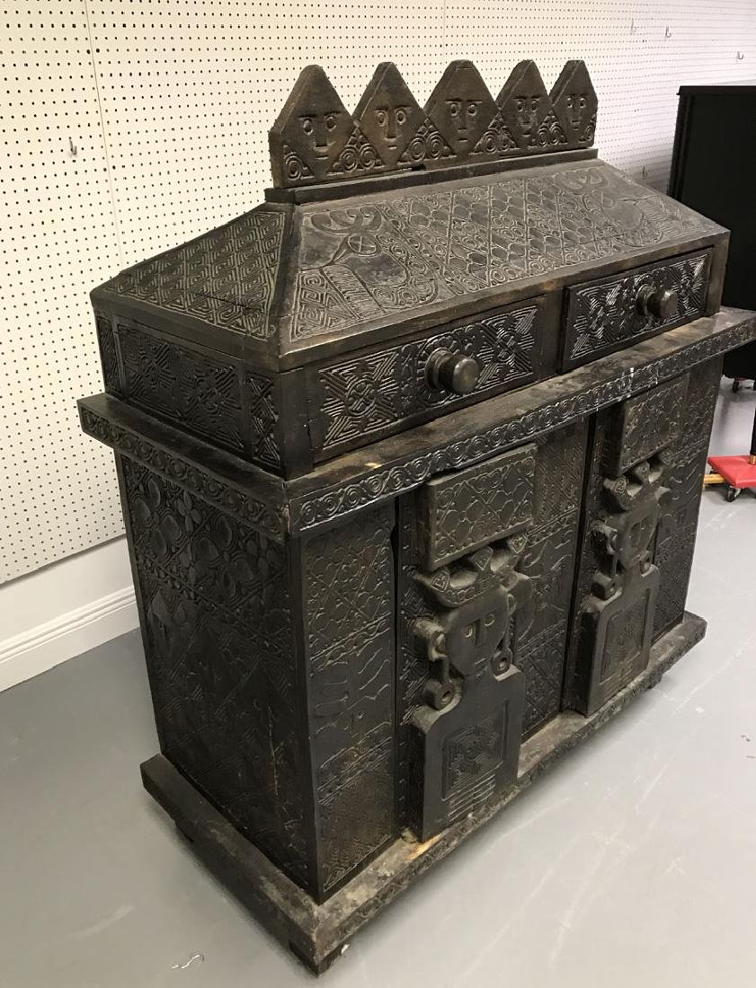 Elaborately carved Island cabinet/chest, 5 faces above - 5