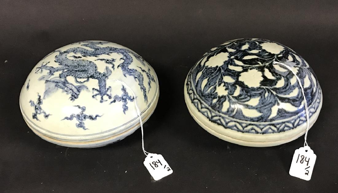 2 Chinese Porcelain Blue & White Boxes.  1 Box 7 3/4