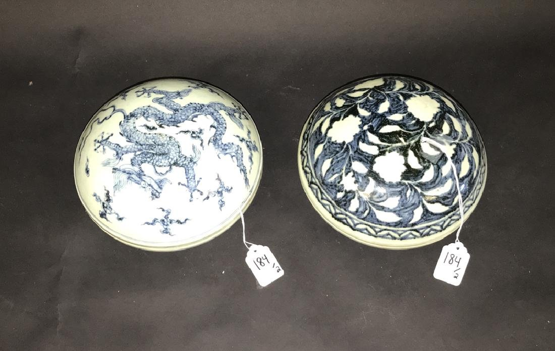 2 Chinese Porcelain Blue & White Boxes.  1 Box 7 3/4 - 3