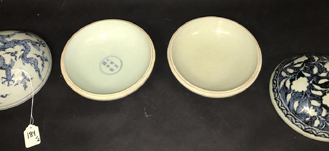 2 Chinese Porcelain Blue & White Boxes.  1 Box 7 3/4 - 4