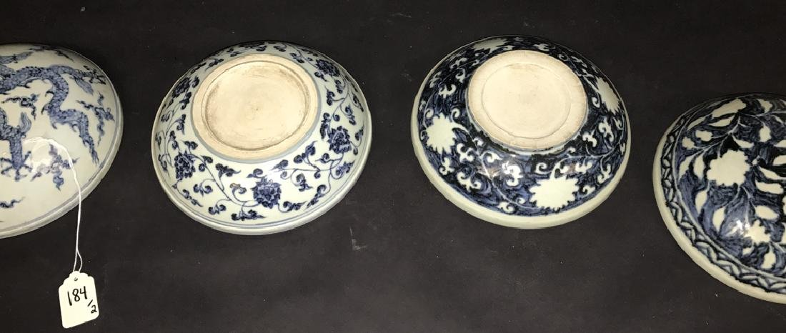 2 Chinese Porcelain Blue & White Boxes.  1 Box 7 3/4 - 5