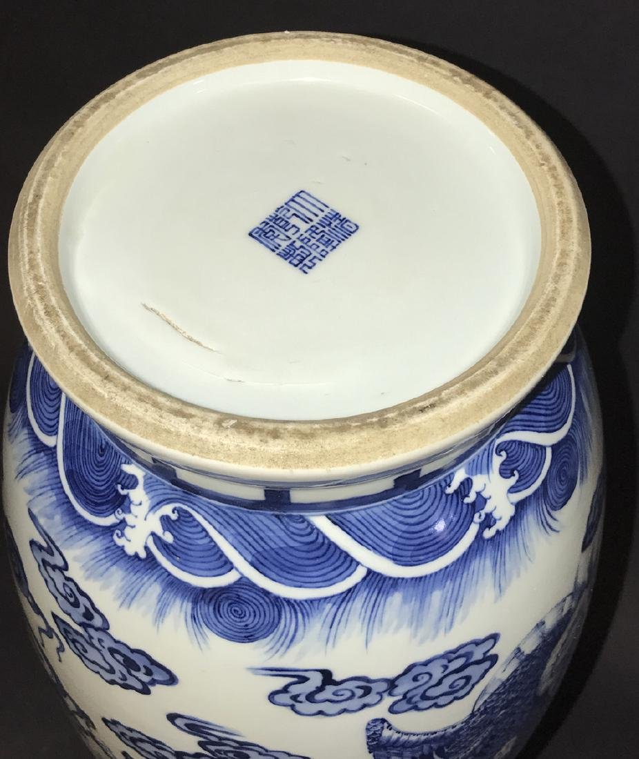 Chinese Porcelain Vase with blue dragon decoration on a - 4