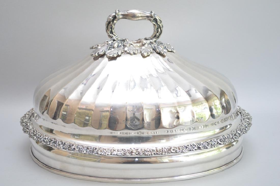 Heavy embellished silver plate dome, oak leaf and acorn