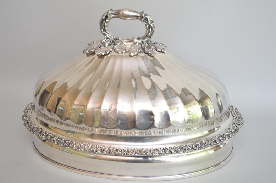 Heavy embellished silver plate dome, oak leaf and acorn - 2
