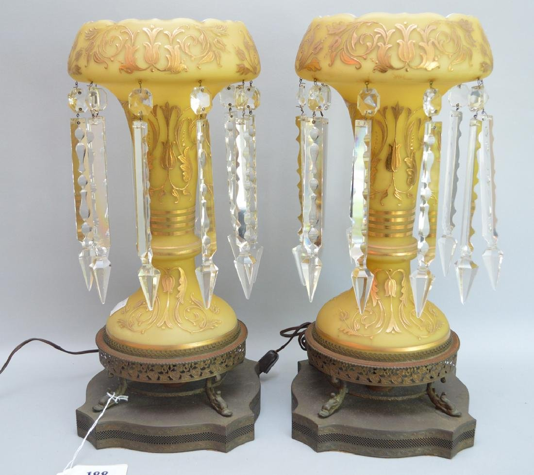 Pair yellow stain glass girandoles with gold accents on