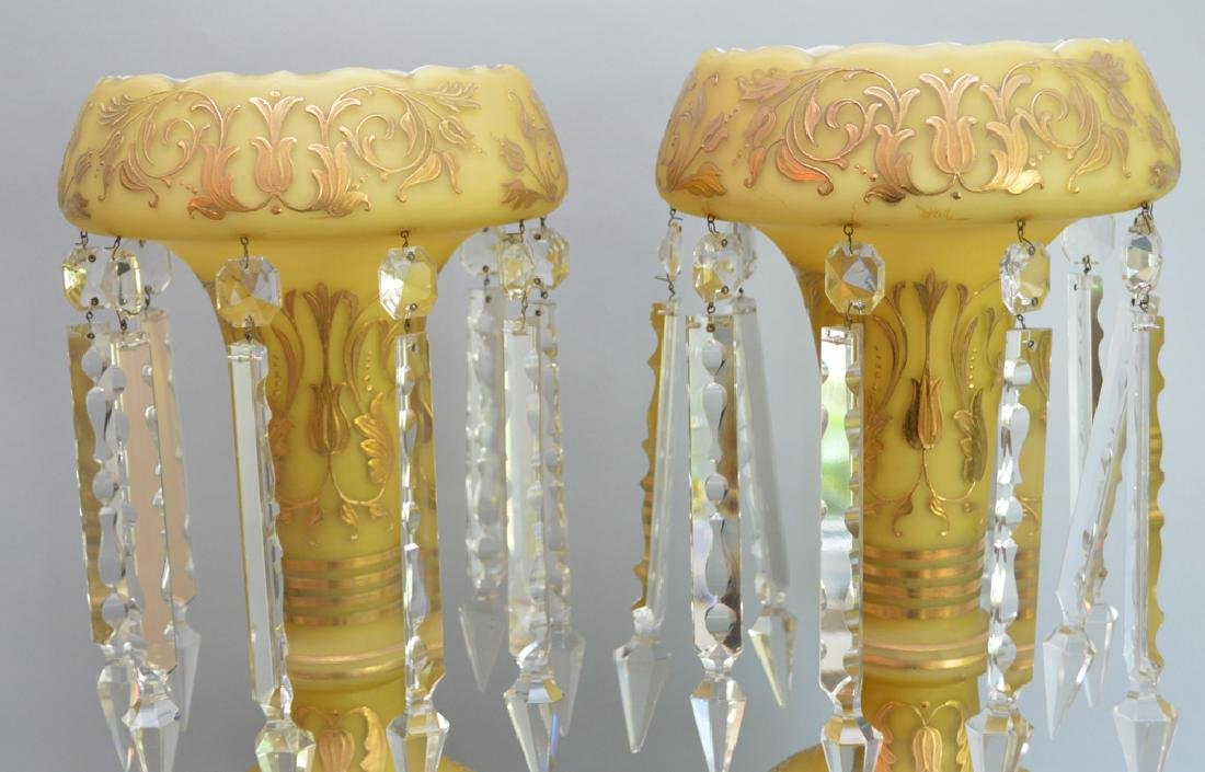 Pair yellow stain glass girandoles with gold accents on - 2