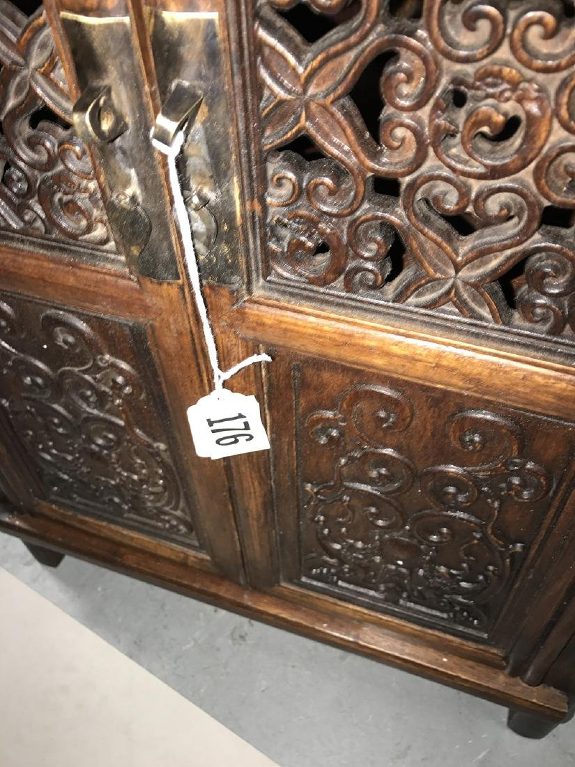 Pair Chinese cabinets each with 2 carved panel doors, - 3