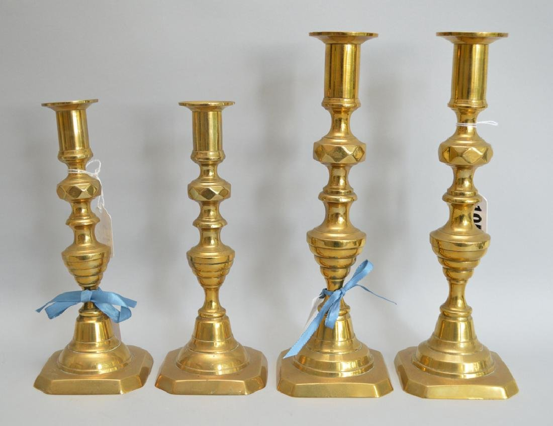 2 pair 19th c. English brass candlesticks