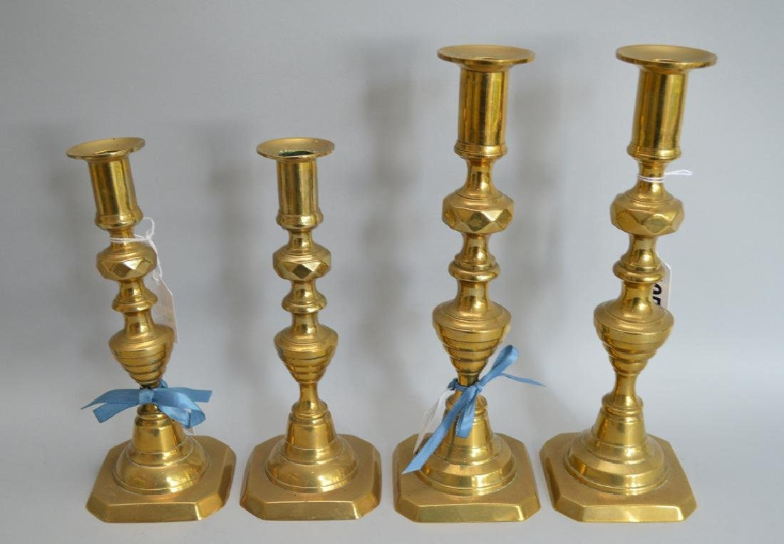 2 pair 19th c. English brass candlesticks - 2