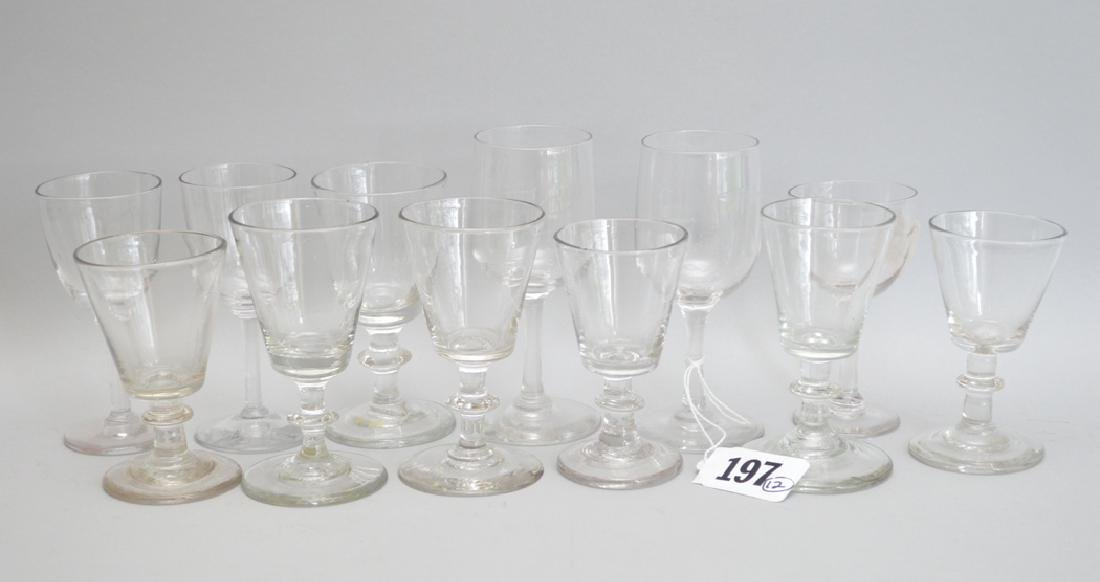 12 assorted 19th c. English wine glasses