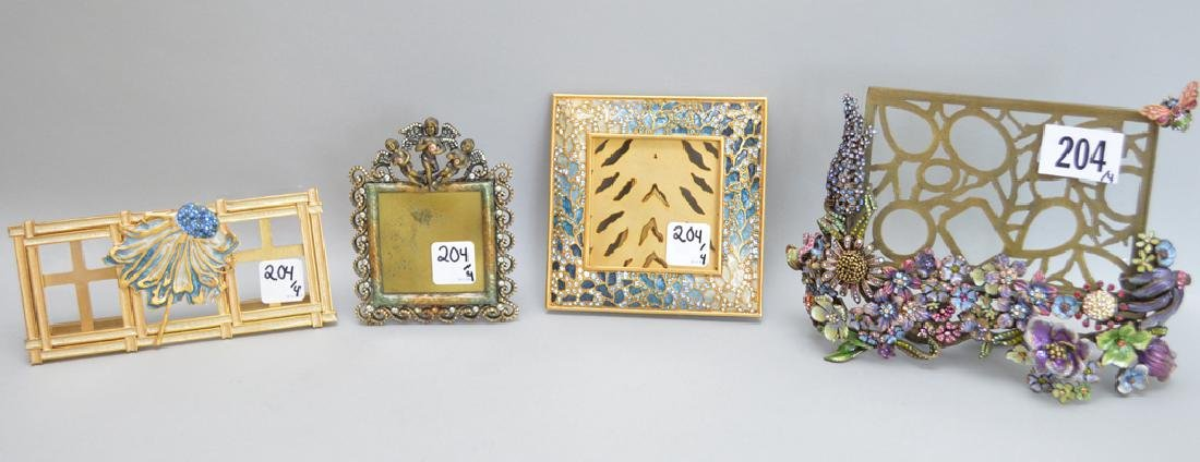4 Jay Strongwater Enamel & Jeweled Frames.  Condition:
