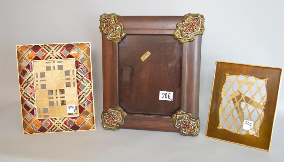 3 Jay Strongwater Frames. 1 Mahogany Bronze & Enamel