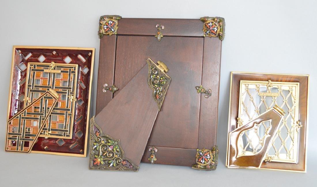 3 Jay Strongwater Frames. 1 Mahogany Bronze & Enamel - 5