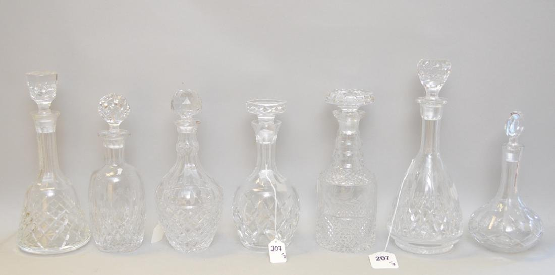 7 assorted Crystal Decanters.  Largest Ht. 13 1/2