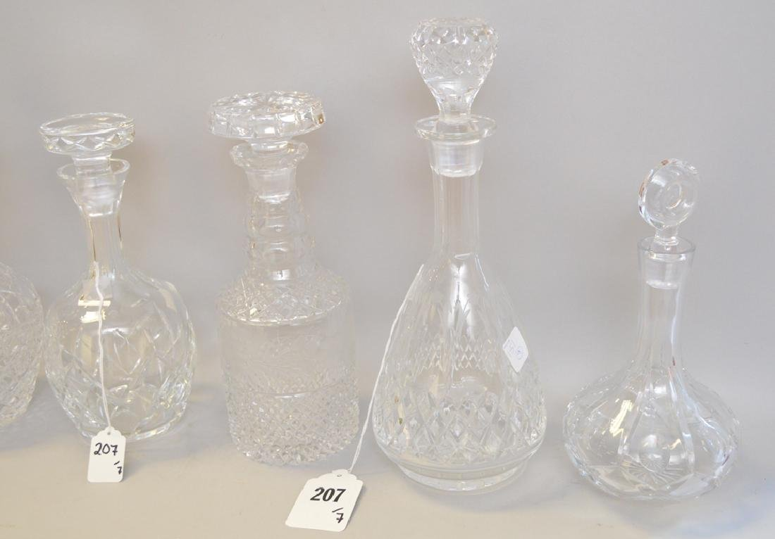 7 assorted Crystal Decanters.  Largest Ht. 13 1/2 - 3