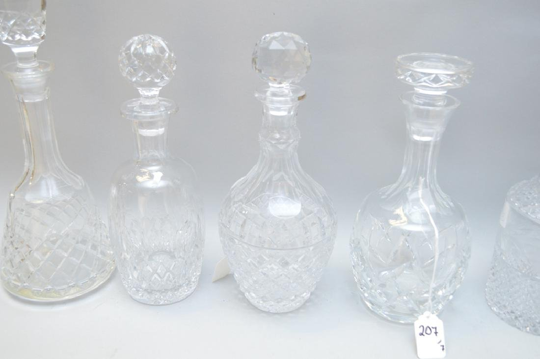 7 assorted Crystal Decanters.  Largest Ht. 13 1/2 - 4