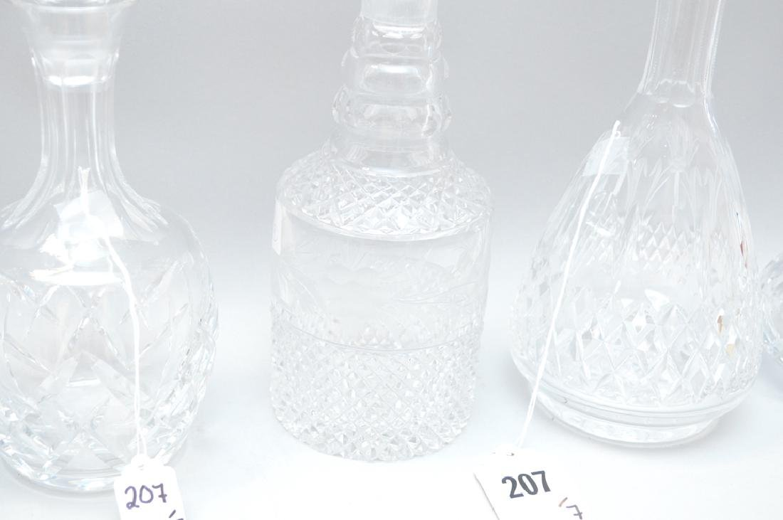 7 assorted Crystal Decanters.  Largest Ht. 13 1/2 - 5