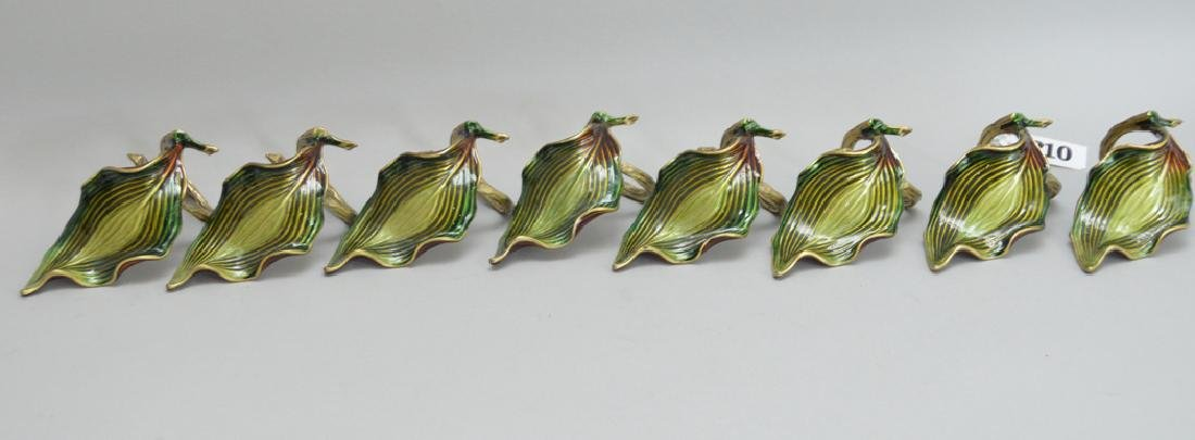 8 Jay Strongwater Bronze & Enamel Napkin Rings.