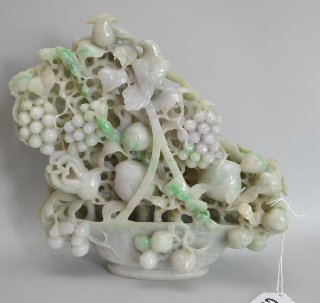 Large Jade Carved Floral & Fruit Basket.  Condition: