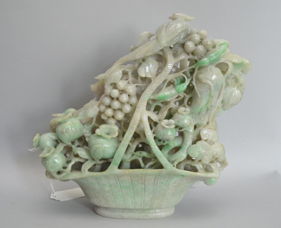 Large Jade Carved Floral & Fruit Basket.  Condition: - 3