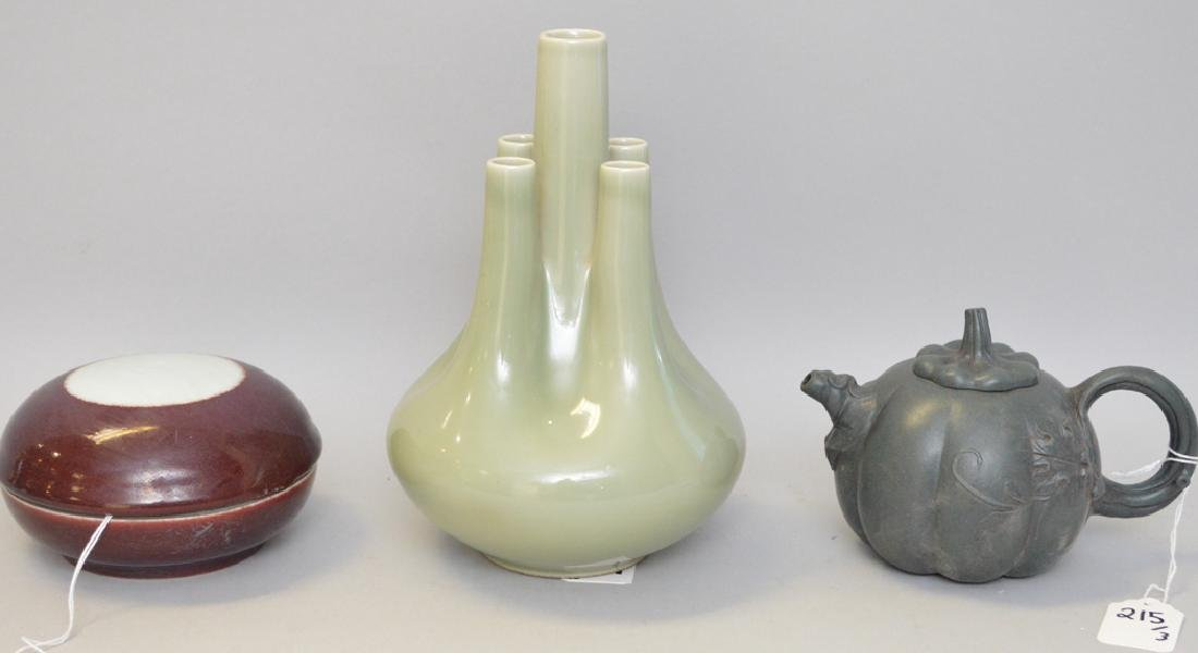 3 Chinese Porcelain Articles.  Caledon Bud Vase with
