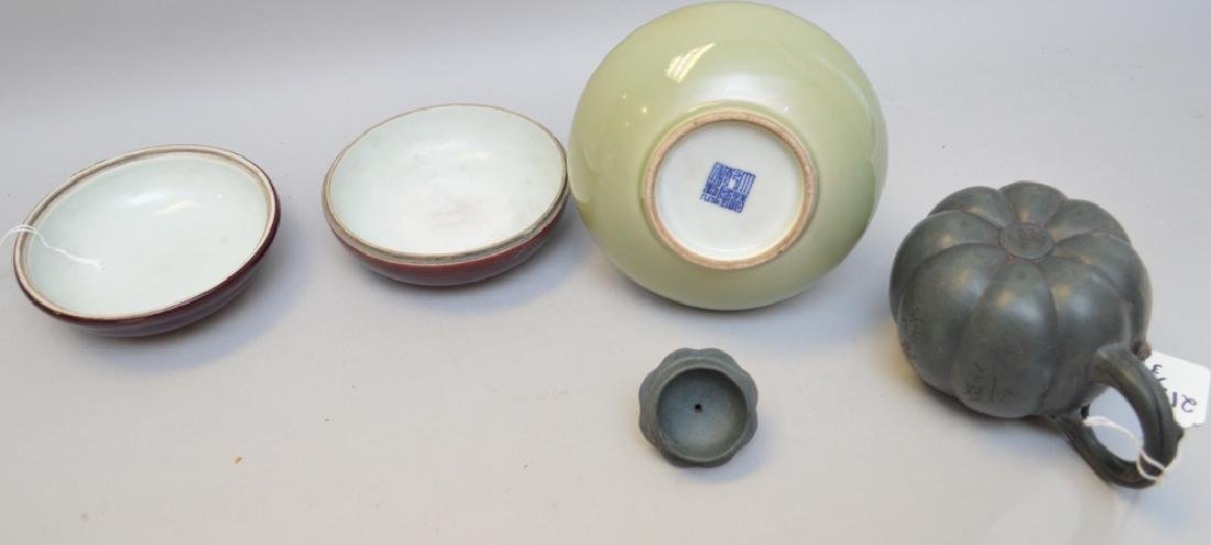 3 Chinese Porcelain Articles.  Caledon Bud Vase with - 3