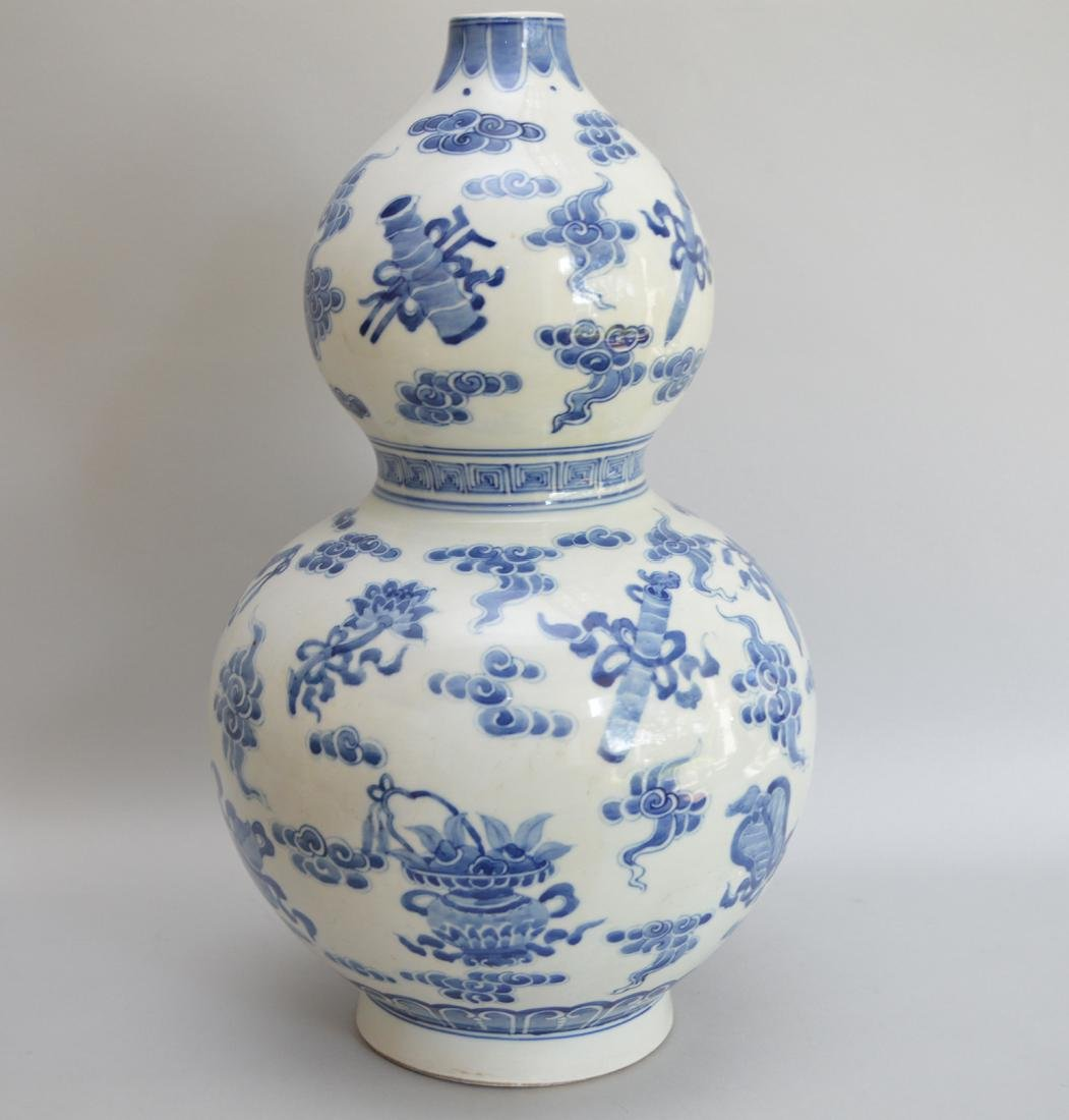 Chinese Porcelain Vase with double bulbous body and - 3