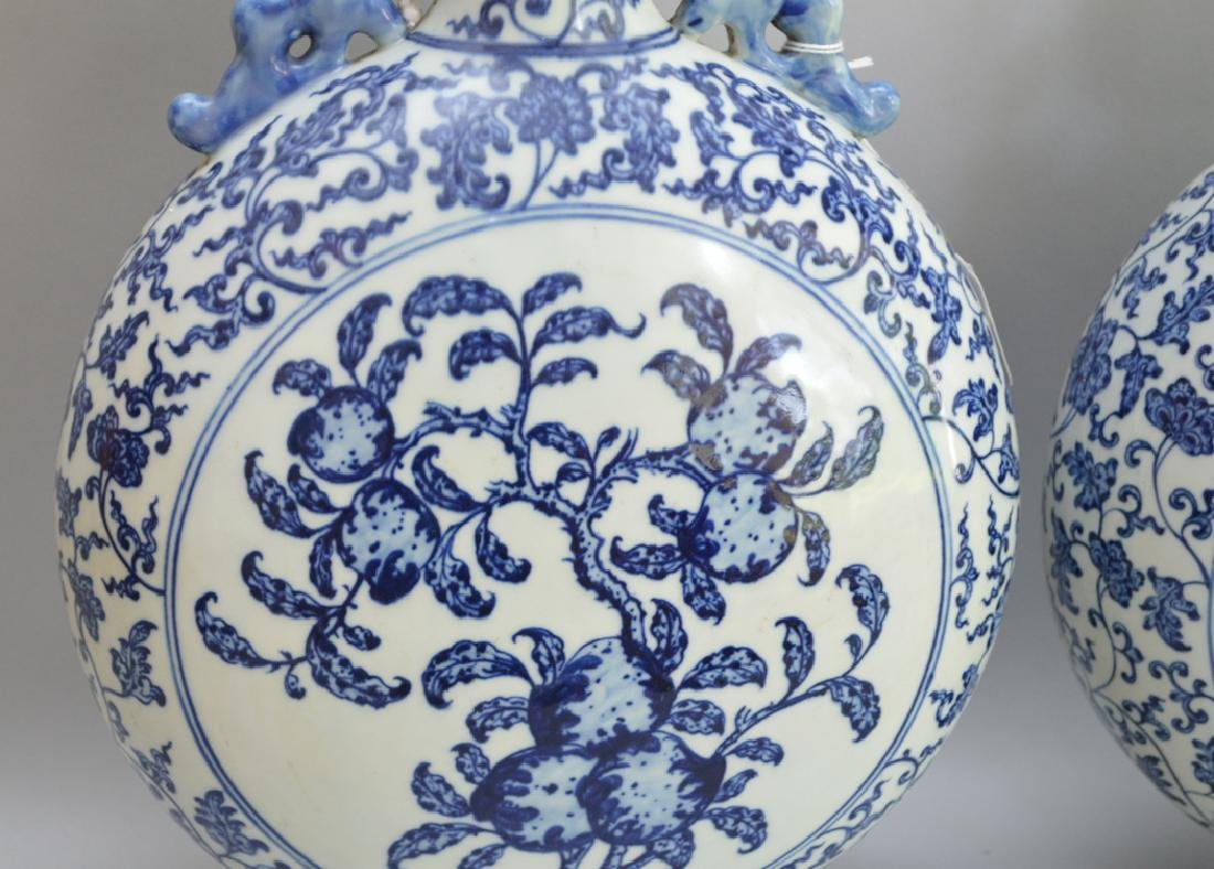 Pair Chinese Porcelain Vases with blue & white floral - 2