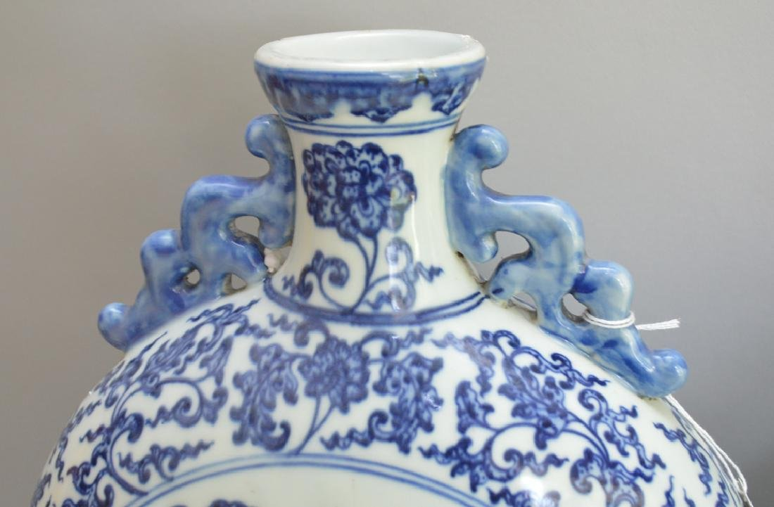 Pair Chinese Porcelain Vases with blue & white floral - 3