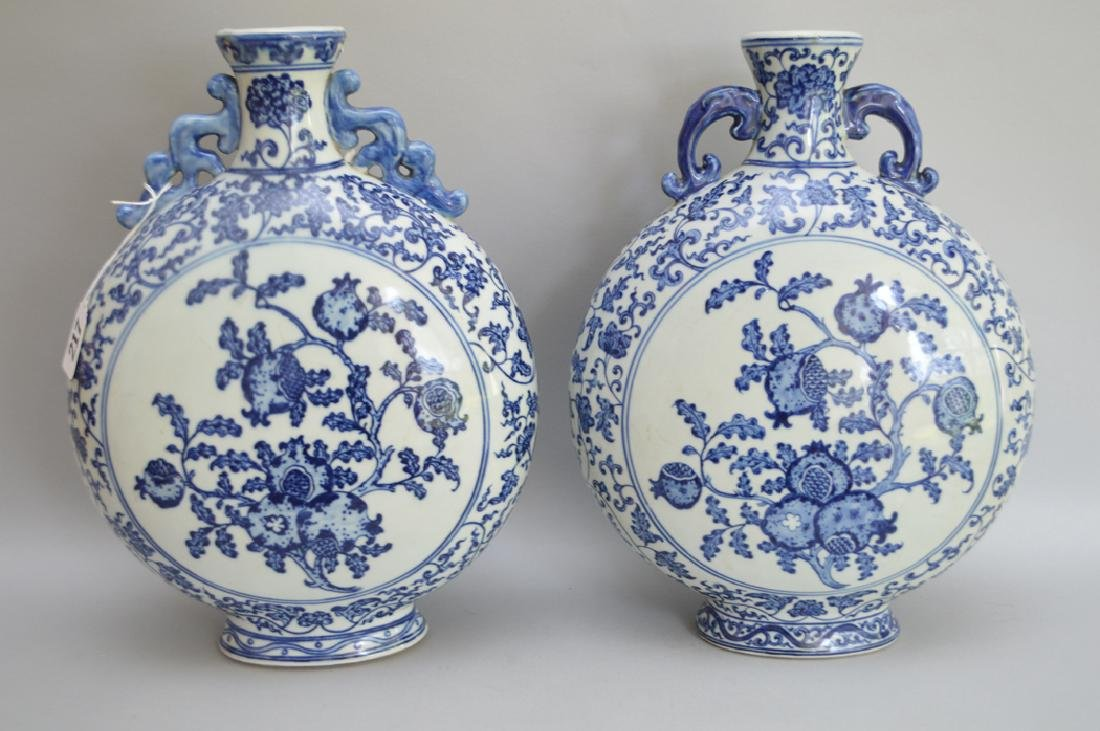 Pair Chinese Porcelain Vases with blue & white floral - 5