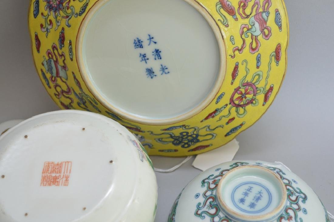 3 Chinese Porcelain Articles.  Plate with hand painted - 5