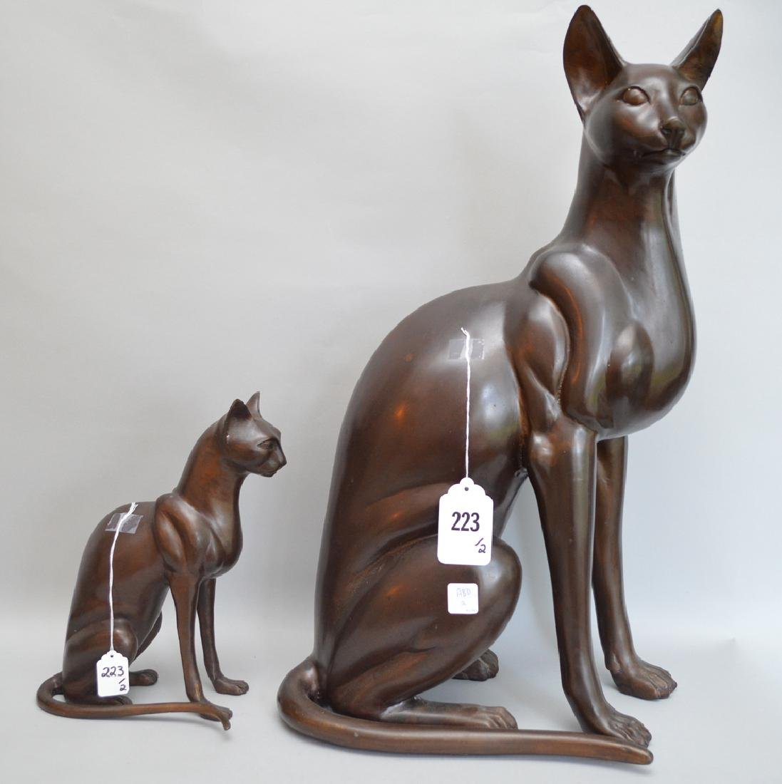 2 Egyptian Revival Style Bronze Cat Sculptures.  Each