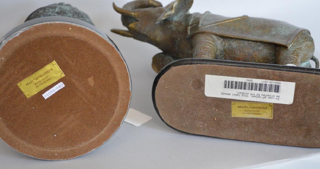 Two Maitland Smith Bronzes.  1 Bust Ht. 12, 1 Elephant - 5